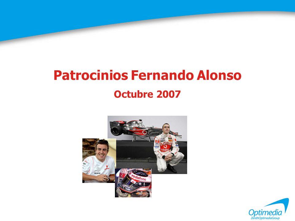Marcas patrocinadoras Fernando Alonso Recuerdo total Citan al menos una marca patrocinadora: 92% entrevistados Promedio marcas citadas en espontáneo: 4,3 marcas Pregunta: De las siguientes marcas que le vamos a leer a continuación, ¿cuáles de ellas recuerda que patrocinan actualmente a Fernando Alonso?.