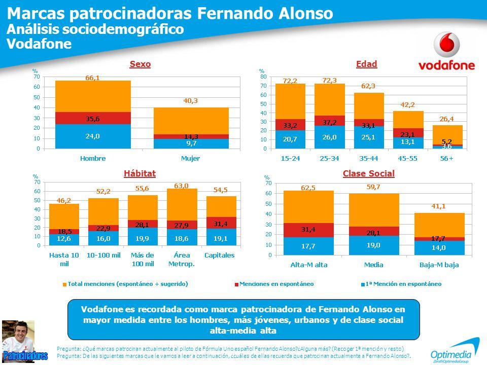Marcas patrocinadoras Fernando Alonso Análisis sociodemográfico Vodafone Pregunta: De las siguientes marcas que le vamos a leer a continuación, ¿cuáles de ellas recuerda que patrocinan actualmente a Fernando Alonso?.