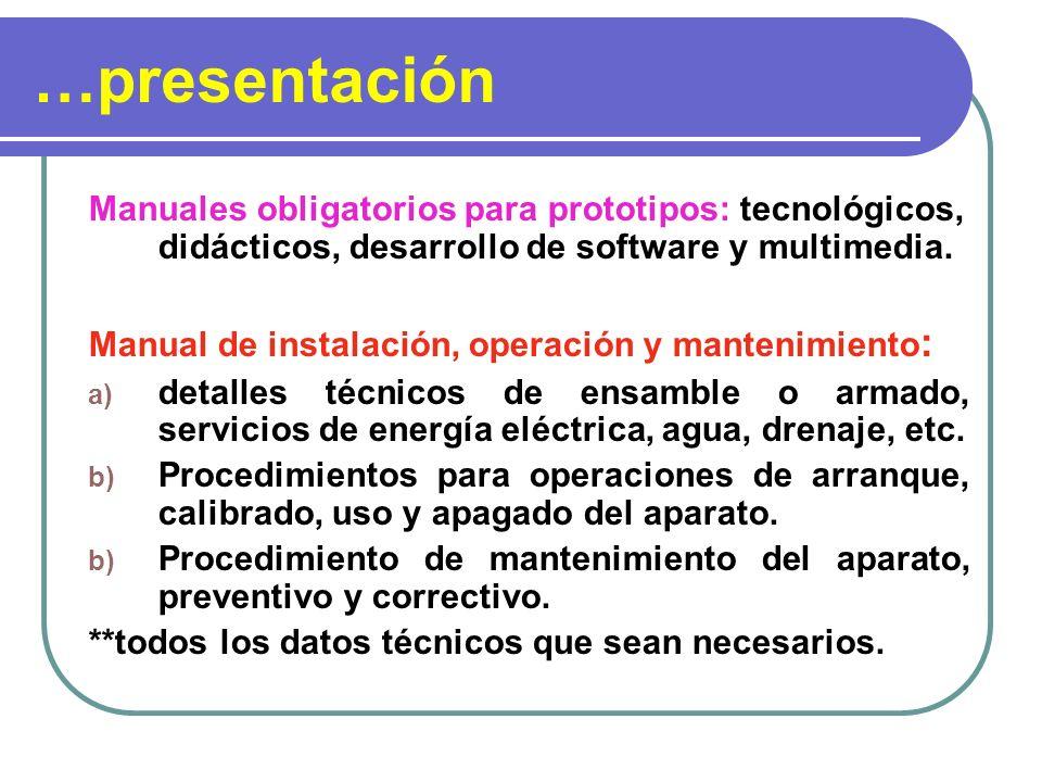 …presentación Manuales obligatorios para prototipos: tecnológicos, didácticos, desarrollo de software y multimedia. Manual de instalación, operación y