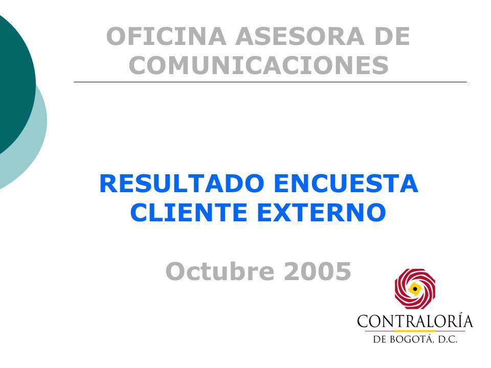 OFICINA ASESORA DE COMUNICACIONES RESULTADO ENCUESTA CLIENTE EXTERNO Octubre 2005