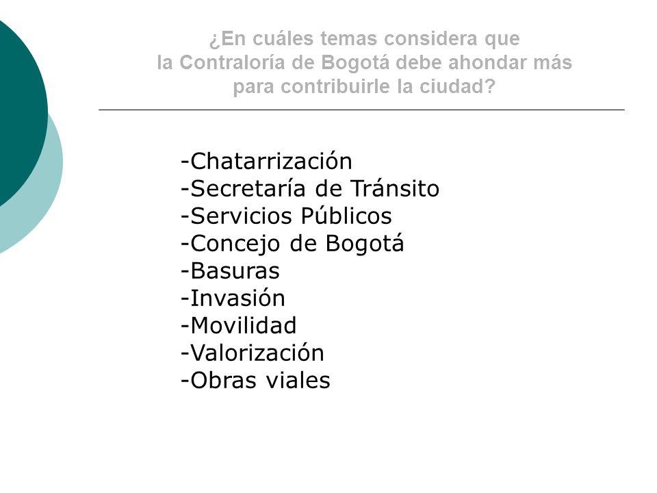 ¿En cuáles temas considera que la Contraloría de Bogotá debe ahondar más para contribuirle la ciudad.
