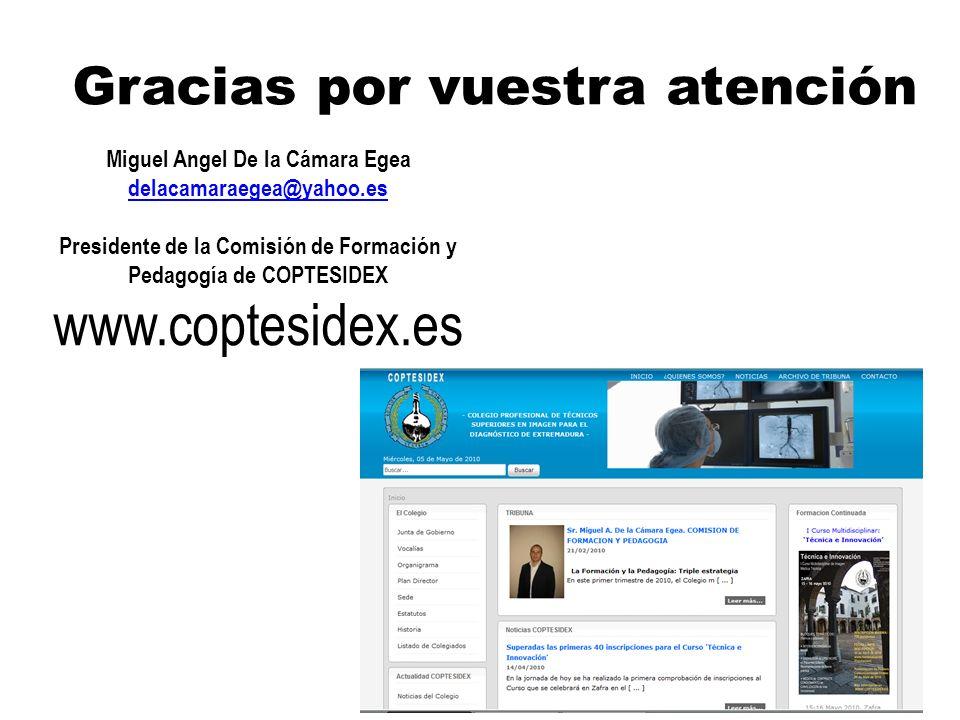 Miguel Angel De la Cámara Egea delacamaraegea@yahoo.es Presidente de la Comisión de Formación y Pedagogía de COPTESIDEX www.coptesidex.es Gracias por