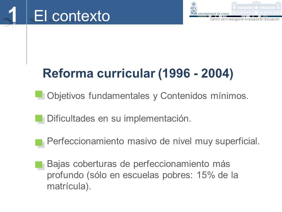 El contexto Reforma curricular (1996 - 2004) Centro de Investigación Avanzada En Educación Objetivos fundamentales y Contenidos mínimos. Dificultades