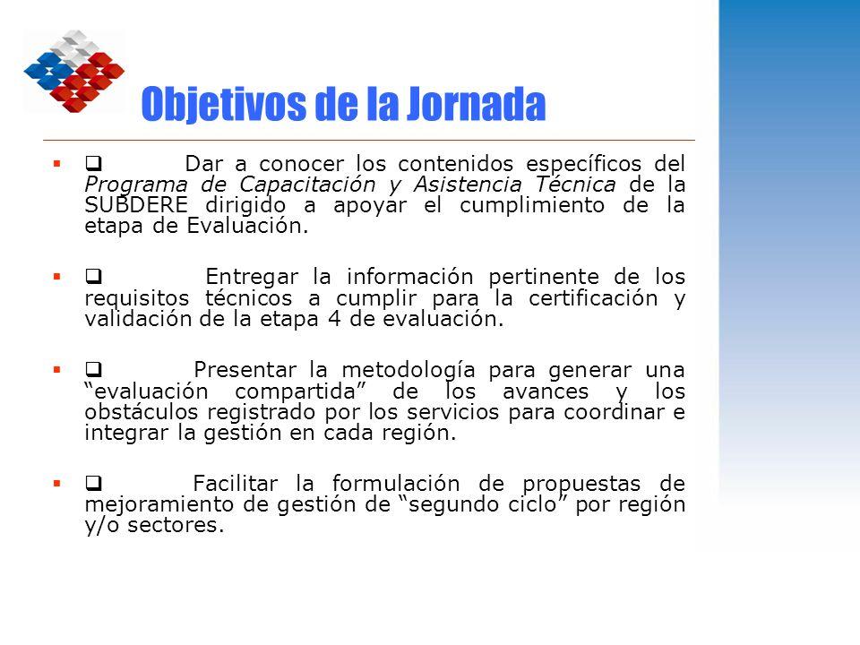Objetivos de la Jornada Dar a conocer los contenidos específicos del Programa de Capacitación y Asistencia Técnica de la SUBDERE dirigido a apoyar el