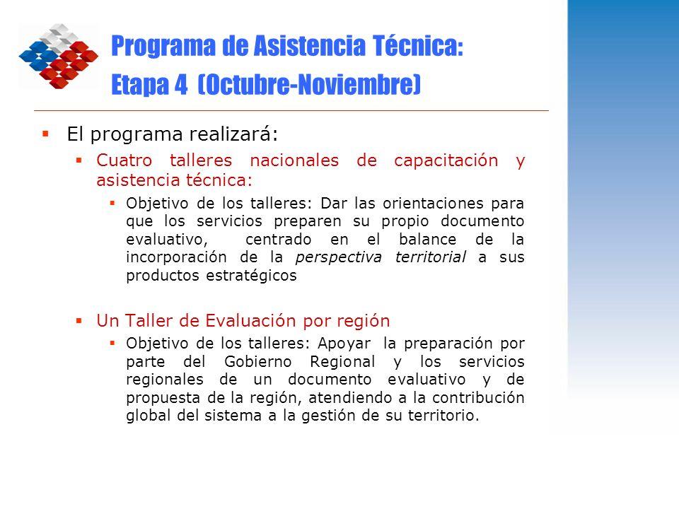 Programa de Asistencia Técnica: Etapa 4 (Octubre-Noviembre) El programa realizará: Cuatro talleres nacionales de capacitación y asistencia técnica: Ob