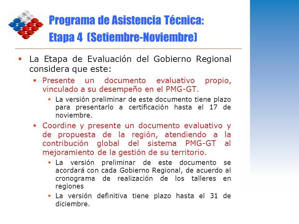 Programa de Asistencia Técnica: Etapa 4 (Setiembre-Noviembre) La Etapa de Evaluación del Gobierno Regional considera que este: Presente un documento e