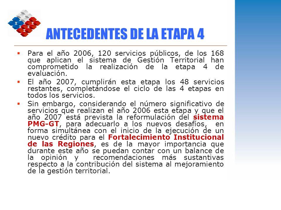 ANTECEDENTES DE LA ETAPA 4 Para el año 2006, 120 servicios públicos, de los 168 que aplican el sistema de Gestión Territorial han comprometido la real