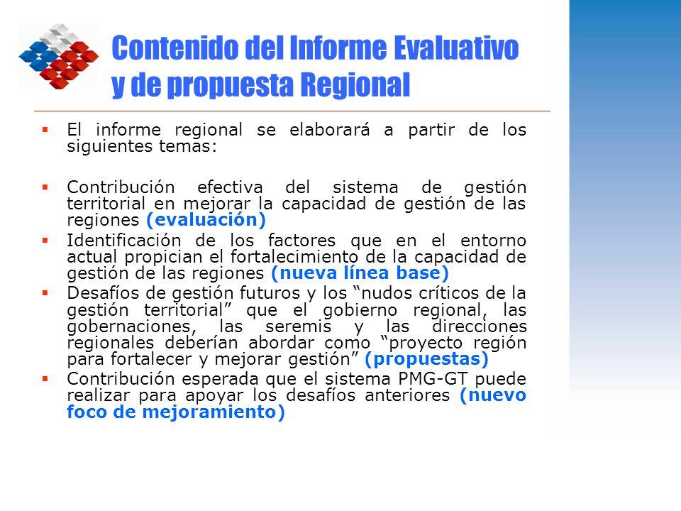 Contenido del Informe Evaluativo y de propuesta Regional El informe regional se elaborará a partir de los siguientes temas: Contribución efectiva del