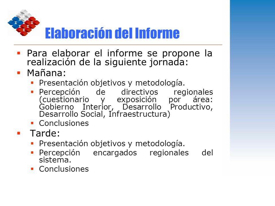 Elaboración del Informe Para elaborar el informe se propone la realización de la siguiente jornada: Mañana: Presentación objetivos y metodología. Perc