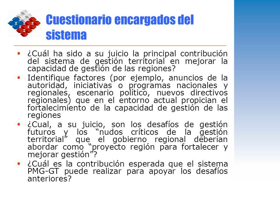 Cuestionario encargados del sistema ¿Cuál ha sido a su juicio la principal contribución del sistema de gestión territorial en mejorar la capacidad de