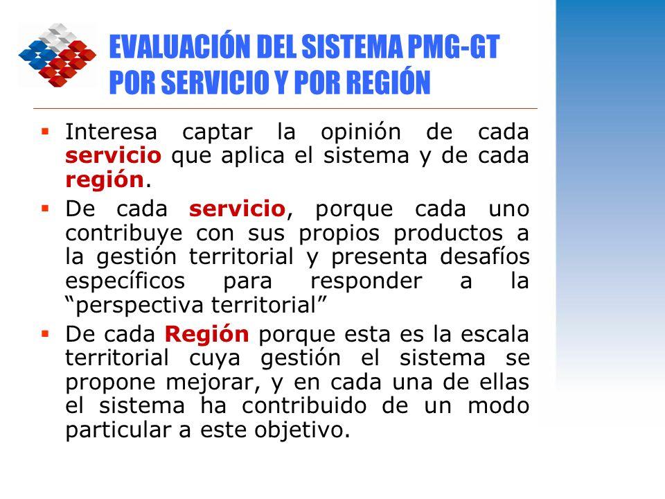 EVALUACIÓN DEL SISTEMA PMG-GT POR SERVICIO Y POR REGIÓN Interesa captar la opinión de cada servicio que aplica el sistema y de cada región. De cada se