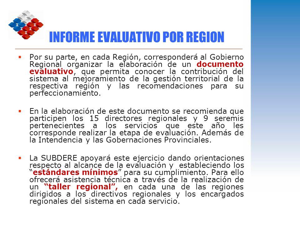 INFORME EVALUATIVO POR REGION Por su parte, en cada Región, corresponderá al Gobierno Regional organizar la elaboración de un documento evaluativo, qu