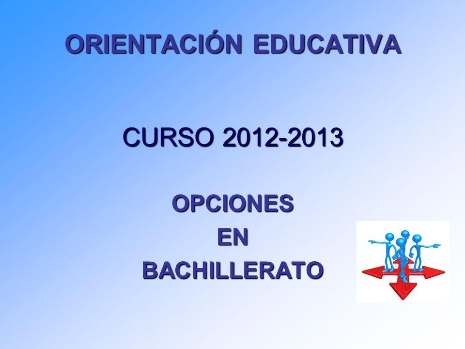 ORIENTACIÓN EDUCATIVA CURSO 2012-2013 OPCIONESENBACHILLERATO