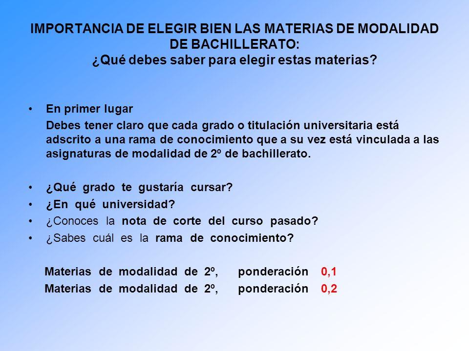 IMPORTANCIA DE ELEGIR BIEN LAS MATERIAS DE MODALIDAD DE BACHILLERATO: ¿Qué debes saber para elegir estas materias.