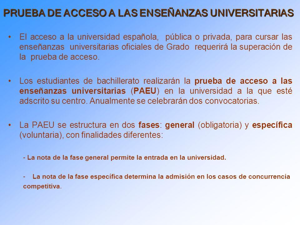 El acceso a la universidad española, pública o privada, para cursar las enseñanzas universitarias oficiales de Grado requerirá la superación de la prueba de acceso.