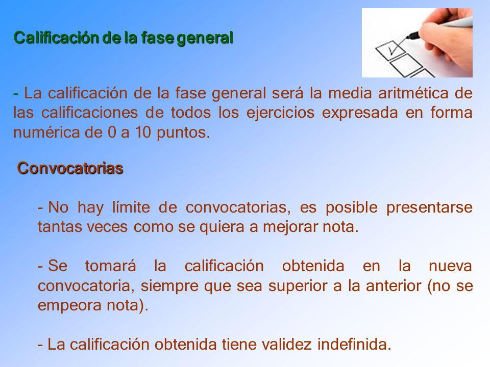 Calificación de la fase general - La calificación de la fase general será la media aritmética de las calificaciones de todos los ejercicios expresada en forma numérica de 0 a 10 puntos.