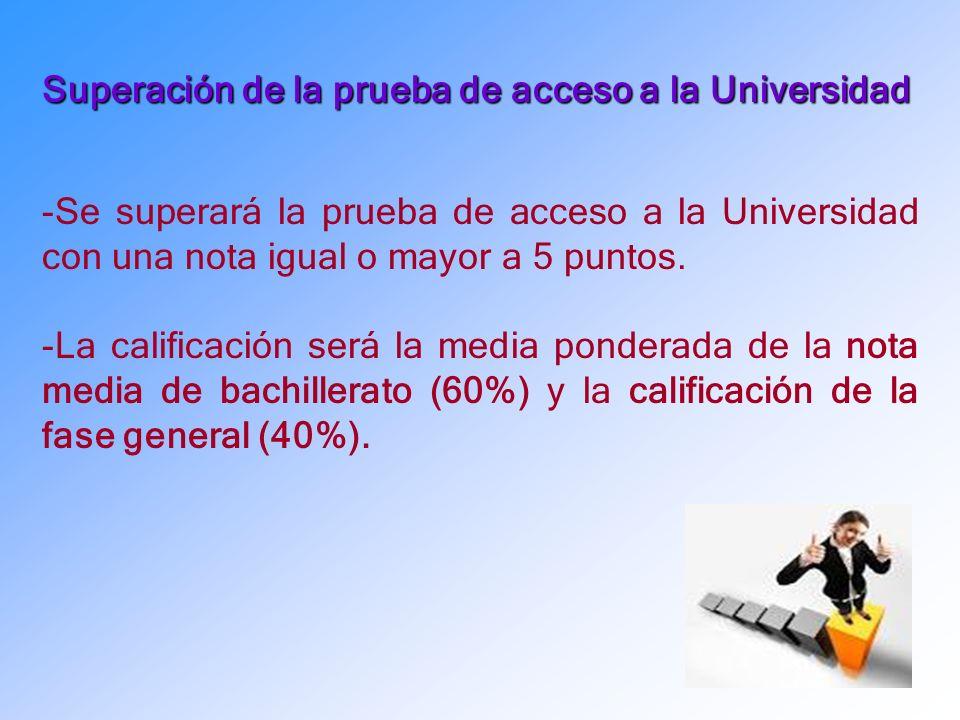 Superación de la prueba de acceso a la Universidad -Se superará la prueba de acceso a la Universidad con una nota igual o mayor a 5 puntos.