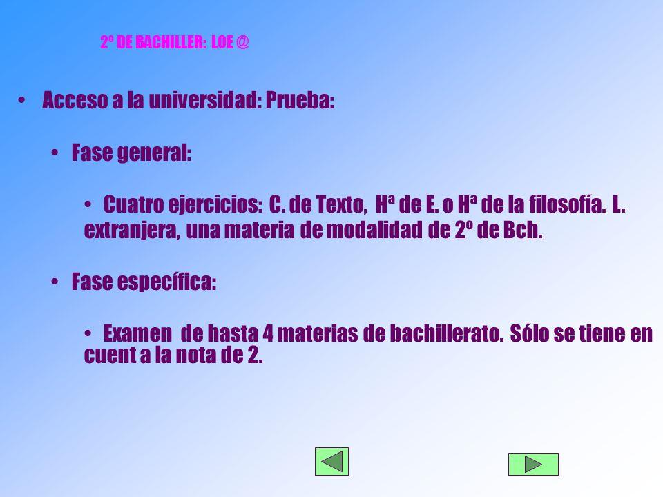 2º DE BACHILLER: LOE @ Acceso a la universidad: Prueba: Fase general: Cuatro ejercicios: C.
