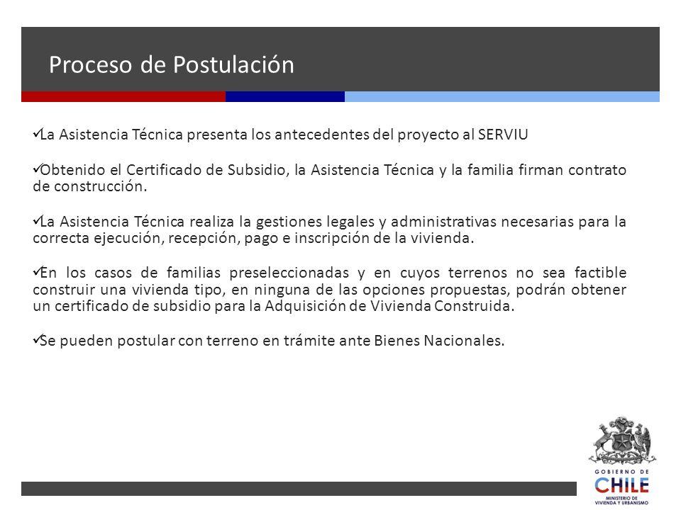 Proceso de Postulación La Asistencia Técnica presenta los antecedentes del proyecto al SERVIU Obtenido el Certificado de Subsidio, la Asistencia Técni
