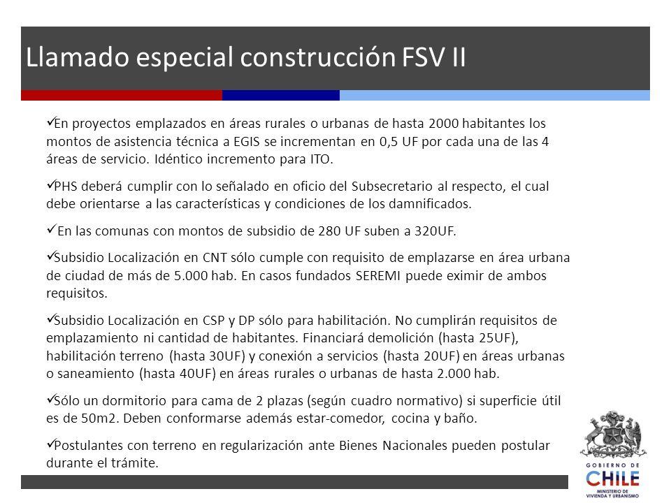 En proyectos emplazados en áreas rurales o urbanas de hasta 2000 habitantes los montos de asistencia técnica a EGIS se incrementan en 0,5 UF por cada