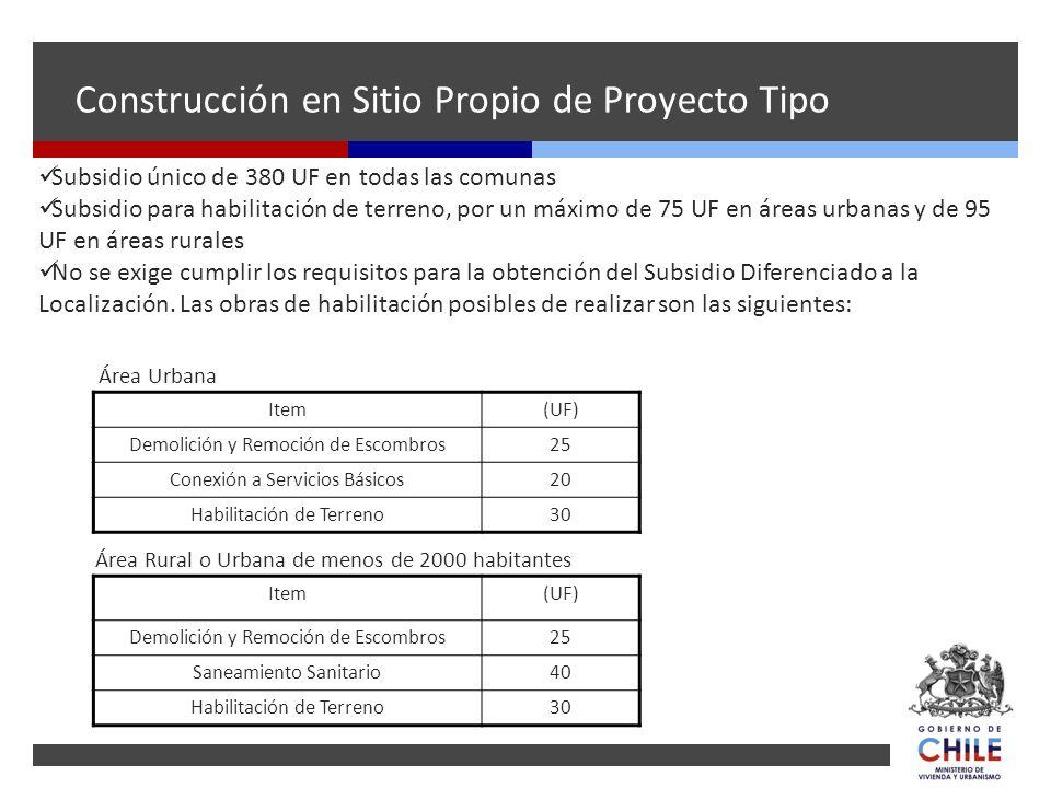 Subsidio único de 380 UF en todas las comunas Subsidio para habilitación de terreno, por un máximo de 75 UF en áreas urbanas y de 95 UF en áreas rural