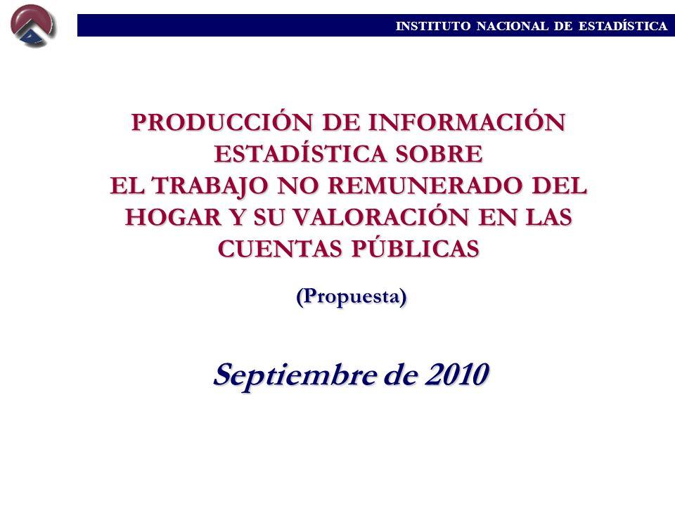 PRODUCCIÓN DE INFORMACIÓN ESTADÍSTICA SOBRE EL TRABAJO NO REMUNERADO DEL HOGAR Y SU VALORACIÓN EN LAS CUENTAS PÚBLICAS (Propuesta) Septiembre de 2010