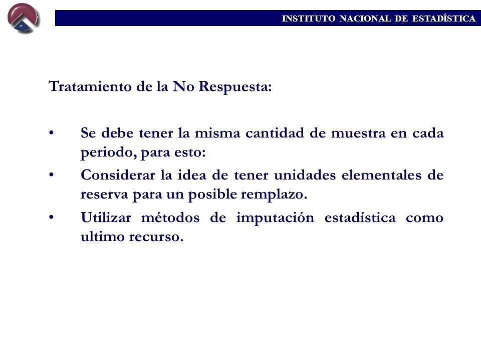 INSTITUTO NACIONAL DE ESTADÍSTICA Tratamiento de la No Respuesta: Se debe tener la misma cantidad de muestra en cada periodo, para esto: Considerar la
