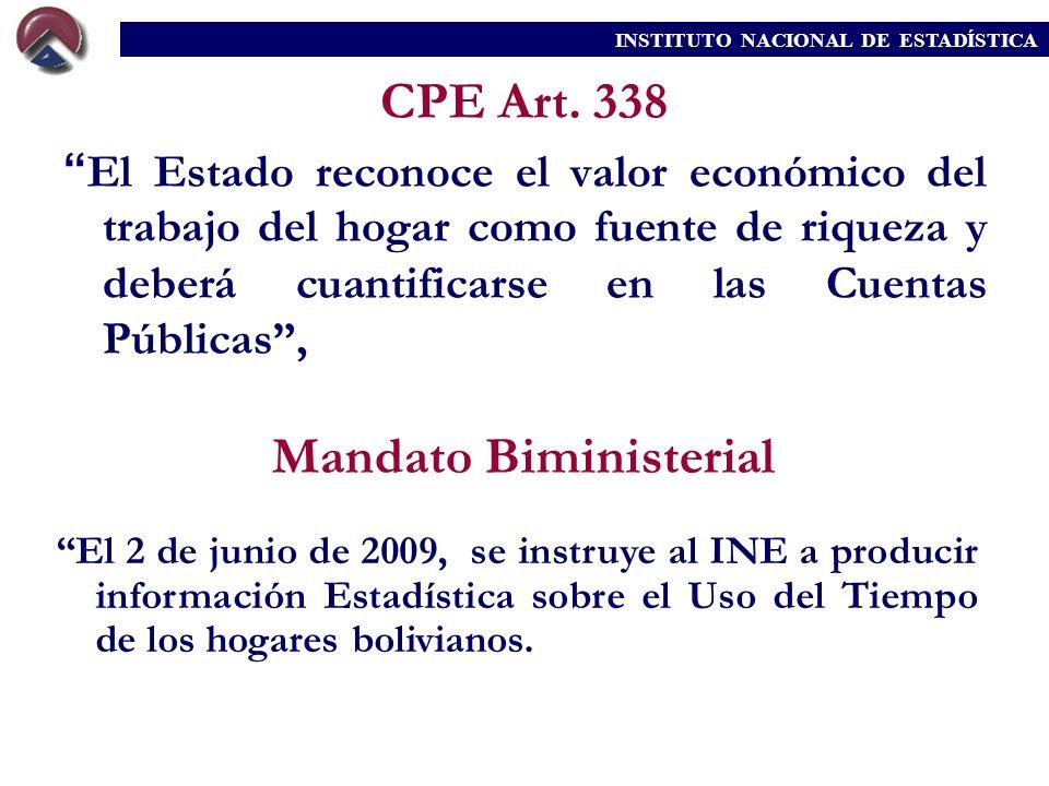 CPE Art. 338 El Estado reconoce el valor económico del trabajo del hogar como fuente de riqueza y deberá cuantificarse en las Cuentas Públicas, El 2 d