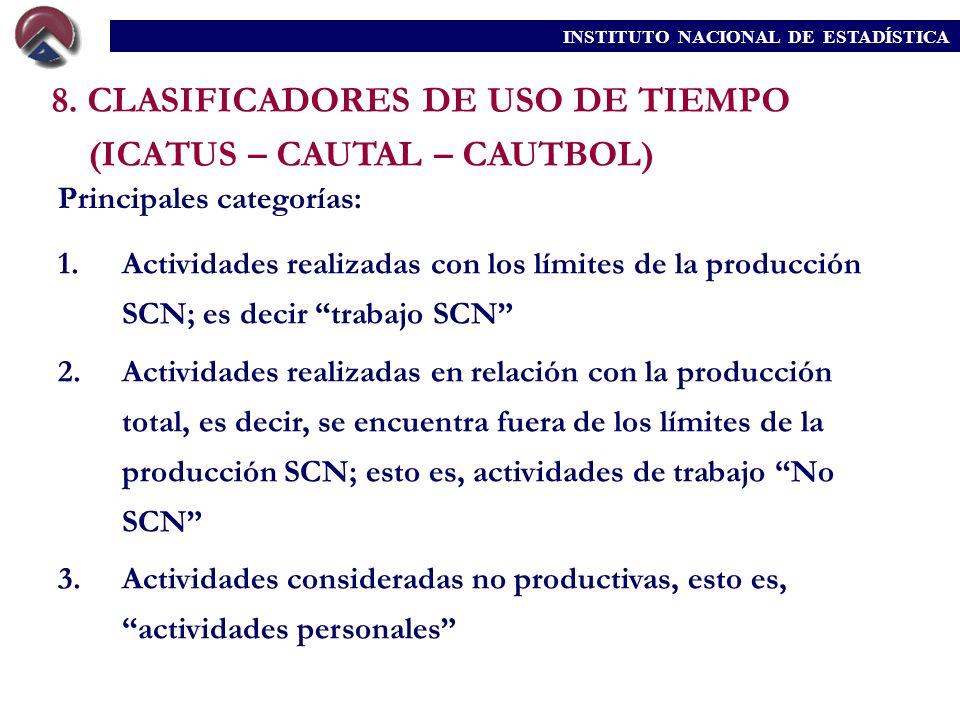 8. CLASIFICADORES DE USO DE TIEMPO (ICATUS – CAUTAL – CAUTBOL) Principales categorías: 1.Actividades realizadas con los límites de la producción SCN;
