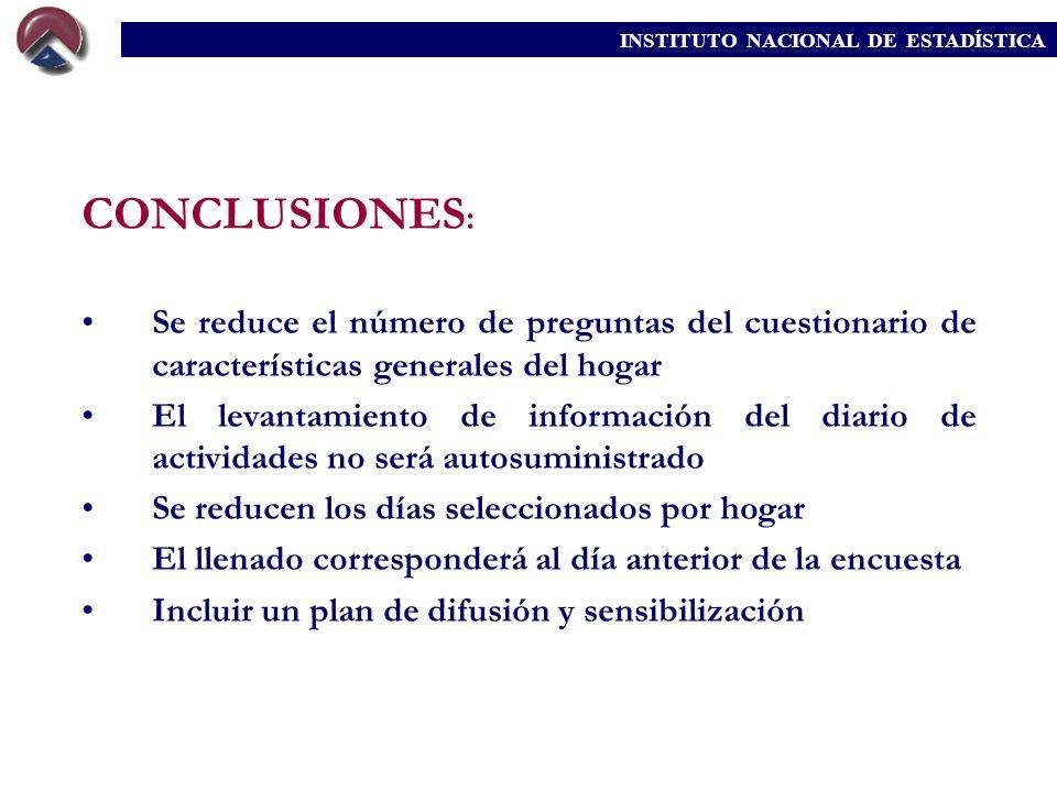 CONCLUSIONES : Se reduce el número de preguntas del cuestionario de características generales del hogar El levantamiento de información del diario de