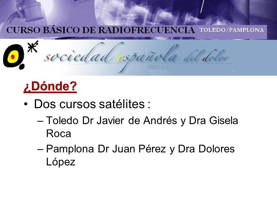 ¿Dónde? Dos cursos satélites : –Toledo Dr Javier de Andrés y Dra Gisela Roca –Pamplona Dr Juan Pérez y Dra Dolores López