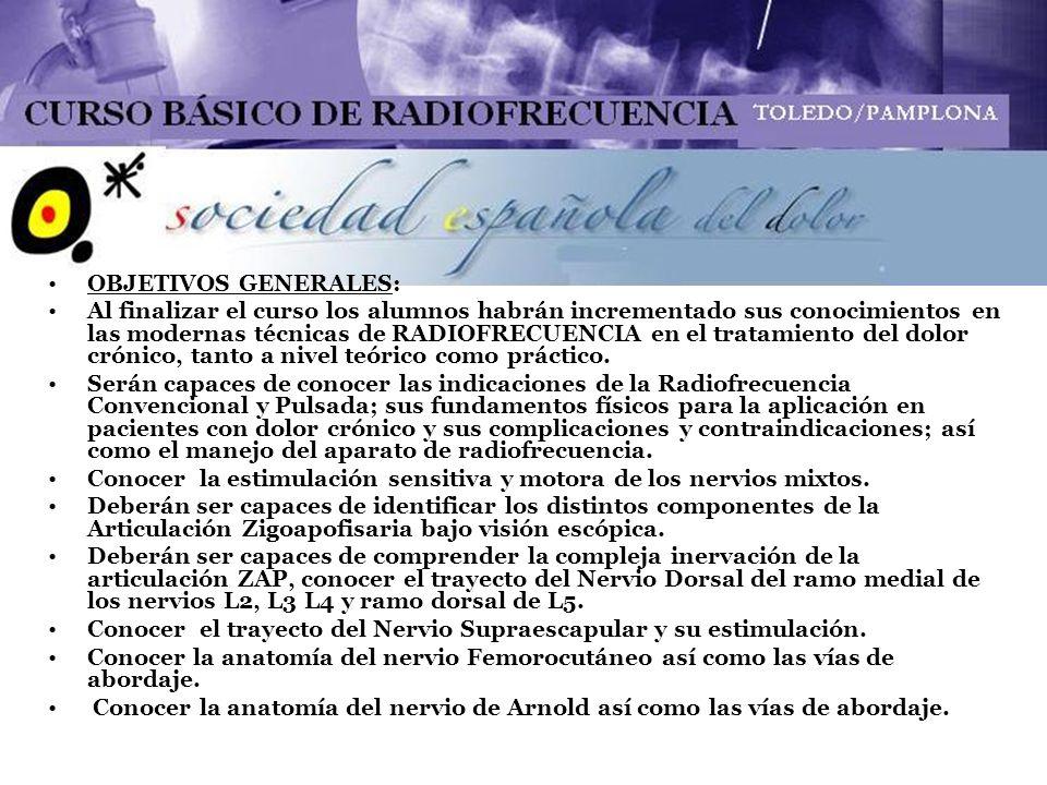 PROGRAMA DOCENTE: ACTIVIDAD TEÓRICA 28 enero 2010: PRINCIPIOS BÁSICOS DE RADIOFRECUENCIA (RF) CONVENCIONAL Y PULSADA.