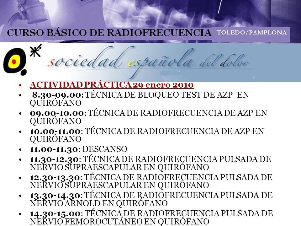 ACTIVIDAD PRÁCTICA 29 enero 2010 8.30-09.00: TÉCNICA DE BLOQUEO TEST DE AZP EN QUIRÓFANO 09.00-10.00: TÉCNICA DE RADIOFRECUENCIA DE AZP EN QUIRÓFANO 1