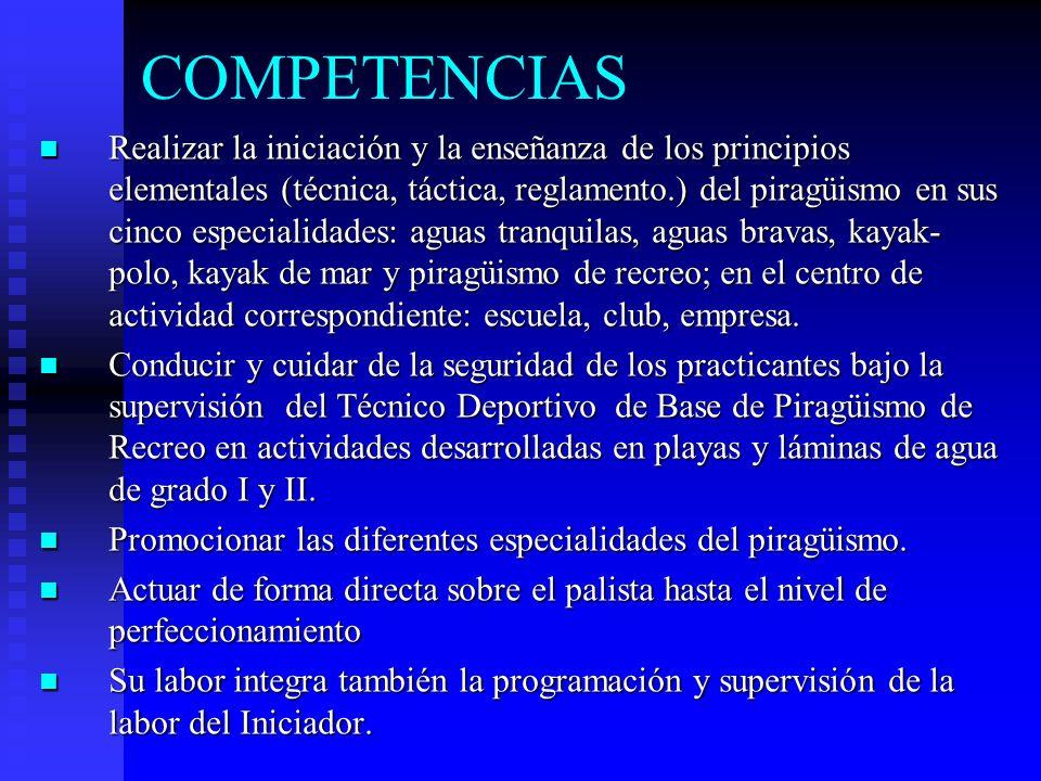 COMPETENCIAS Realizar la iniciación y la enseñanza de los principios elementales (técnica, táctica, reglamento.) del piragüismo en sus cinco especiali