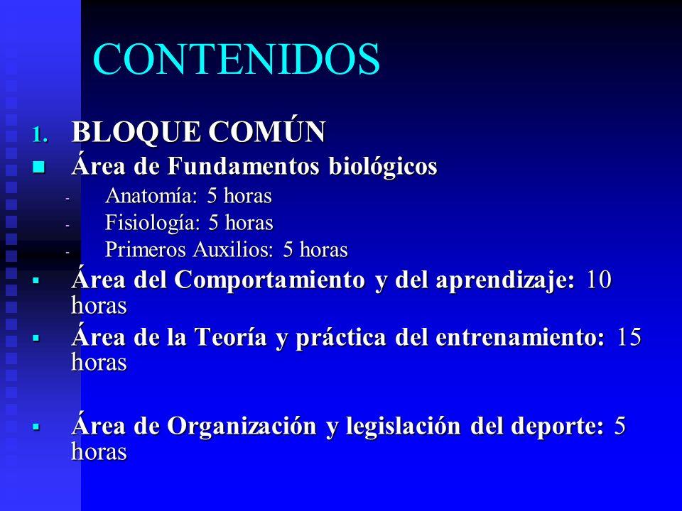 CONTENIDOS 1. BLOQUE COMÚN Área de Fundamentos biológicos Área de Fundamentos biológicos - Anatomía: 5 horas - Fisiología: 5 horas - Primeros Auxilios