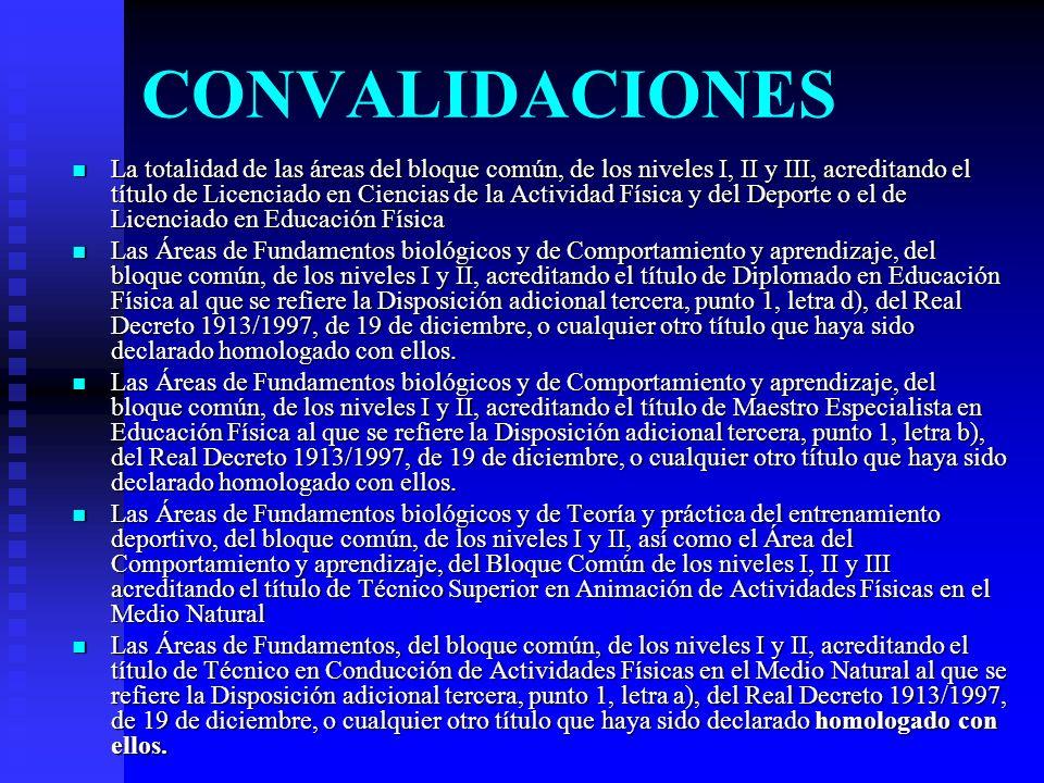 CONVALIDACIONES La totalidad de las áreas del bloque común, de los niveles I, II y III, acreditando el título de Licenciado en Ciencias de la Activida