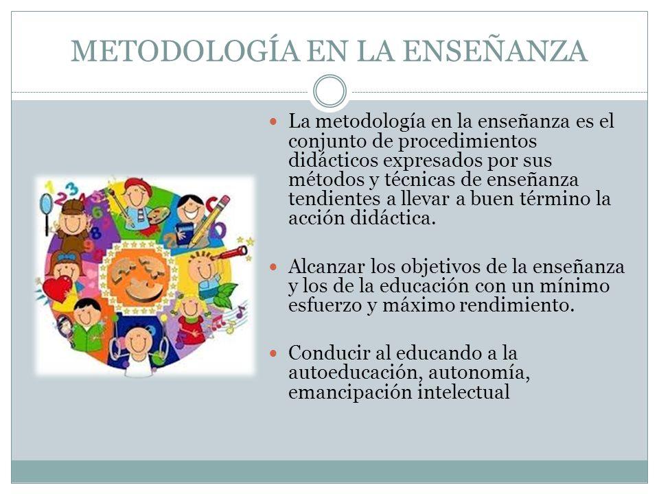 METODOLOGÍA EN LA ENSEÑANZA La metodología en la enseñanza es el conjunto de procedimientos didácticos expresados por sus métodos y técnicas de enseña