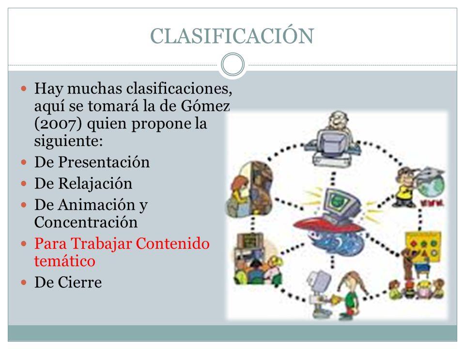 CLASIFICACIÓN Hay muchas clasificaciones, aquí se tomará la de Gómez (2007) quien propone la siguiente: De Presentación De Relajación De Animación y C