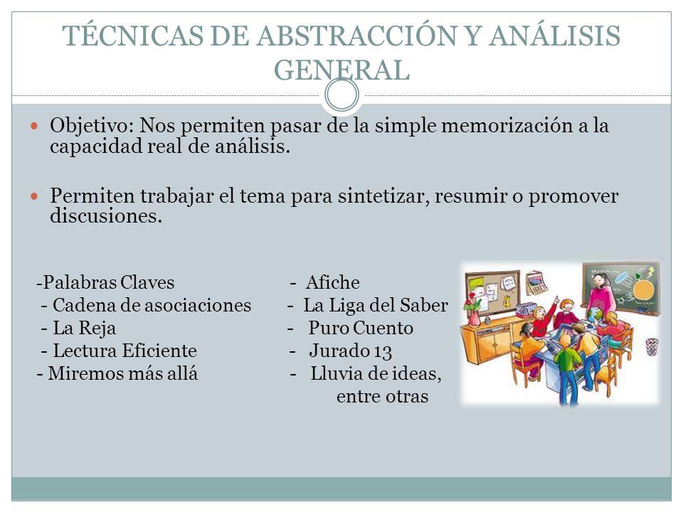 TÉCNICAS DE ABSTRACCIÓN Y ANÁLISIS GENERAL Objetivo: Nos permiten pasar de la simple memorización a la capacidad real de análisis. Permiten trabajar e