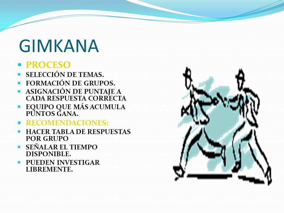 GIMKANA PROCESO SELECCIÓN DE TEMAS. FORMACIÓN DE GRUPOS. ASIGNACIÓN DE PUNTAJE A CADA RESPUESTA CORRECTA EQUIPO QUE MÁS ACUMULA PUNTOS GANA. RECOMENDA