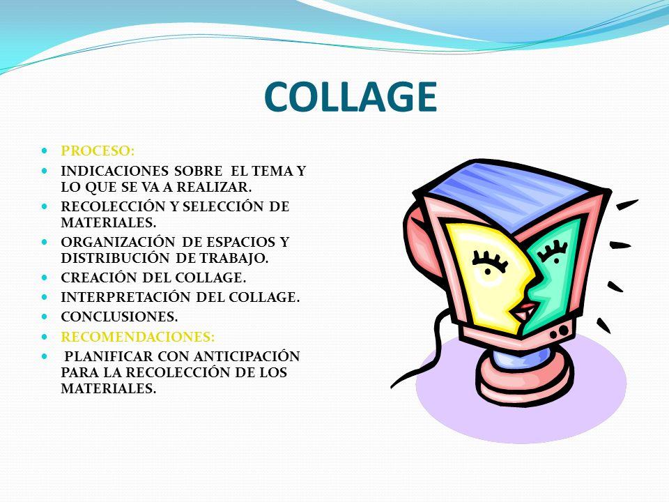 COLLAGE PROCESO: INDICACIONES SOBRE EL TEMA Y LO QUE SE VA A REALIZAR. RECOLECCIÓN Y SELECCIÓN DE MATERIALES. ORGANIZACIÓN DE ESPACIOS Y DISTRIBUCIÓN