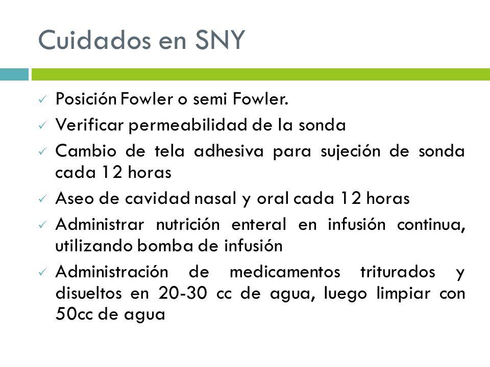 Cuidados en SNY Posición Fowler o semi Fowler. Verificar permeabilidad de la sonda Cambio de tela adhesiva para sujeción de sonda cada 12 horas Aseo d