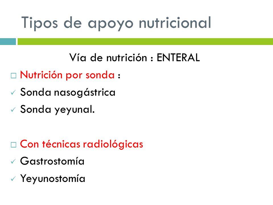 Tipos de apoyo nutricional Vía de nutrición : ENTERAL Nutrición por sonda : Sonda nasogástrica Sonda yeyunal. Con técnicas radiológicas Gastrostomía Y