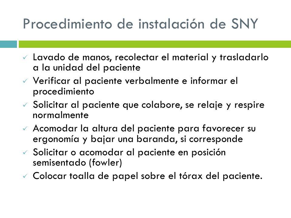 Procedimiento de instalación de SNY Lavado de manos, recolectar el material y trasladarlo a la unidad del paciente Verificar al paciente verbalmente e