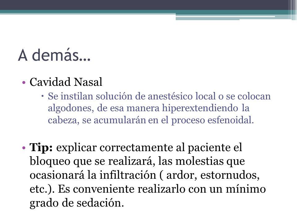 A demás… Cavidad Nasal Se instilan solución de anestésico local o se colocan algodones, de esa manera hiperextendiendo la cabeza, se acumularán en el proceso esfenoidal.