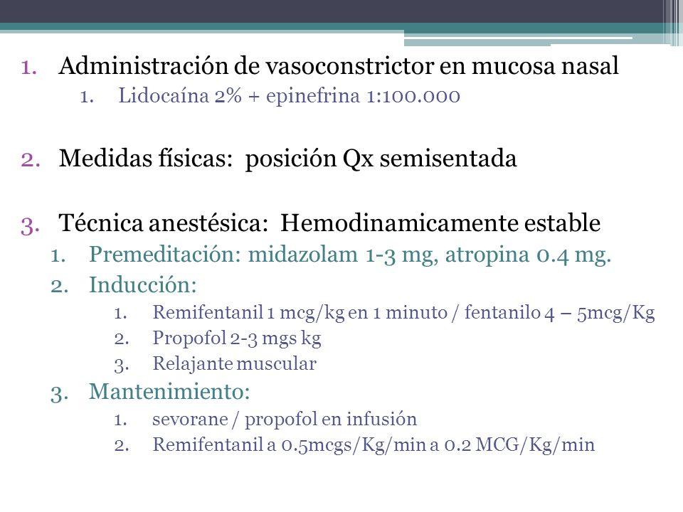 1.Administración de vasoconstrictor en mucosa nasal 1.Lidocaína 2% + epinefrina 1:100.000 2.Medidas físicas: posición Qx semisentada 3.Técnica anestésica: Hemodinamicamente estable 1.Premeditación: midazolam 1-3 mg, atropina 0.4 mg.