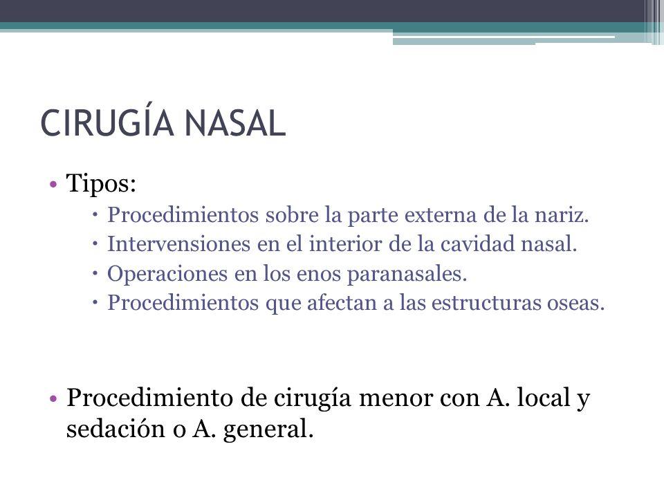 CIRUGÍA NASAL Tipos: Procedimientos sobre la parte externa de la nariz.