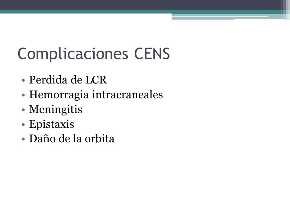 Complicaciones CENS Perdida de LCR Hemorragia intracraneales Meningitis Epistaxis Daño de la orbita