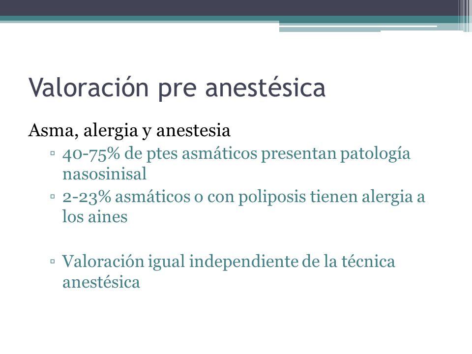 Valoración pre anestésica Asma, alergia y anestesia 40-75% de ptes asmáticos presentan patología nasosinisal 2-23% asmáticos o con poliposis tienen alergia a los aines Valoración igual independiente de la técnica anestésica