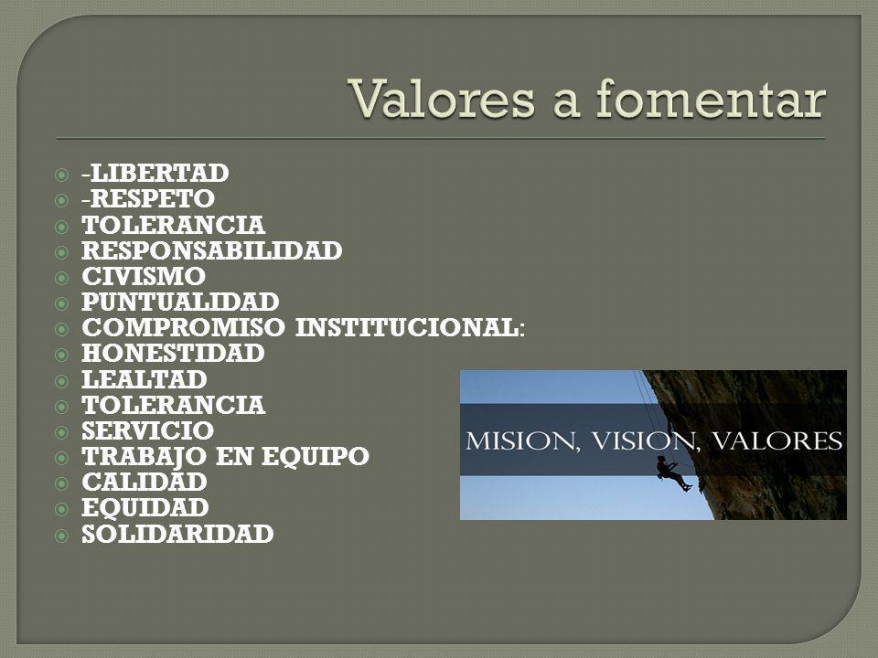 -LIBERTAD -RESPETO TOLERANCIA RESPONSABILIDAD CIVISMO PUNTUALIDAD COMPROMISO INSTITUCIONAL: HONESTIDAD LEALTAD TOLERANCIA SERVICIO TRABAJO EN EQUIPO CALIDAD EQUIDAD SOLIDARIDAD